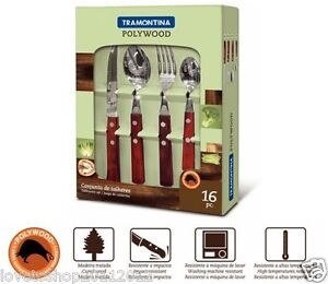 Tramontina Churrasco Poly-Wood 16 Piece Cutlery Set With Wooden Handle 21199/738