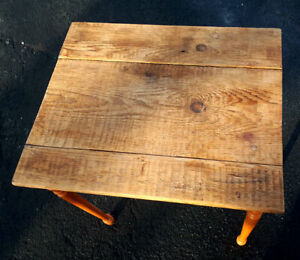 Newly Made Side / End Table W Antique Reclaimed Barn Board