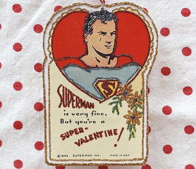 Glittered Wooden Valentine Ornament~SuperMan~Vintage Card Image~ Handmade