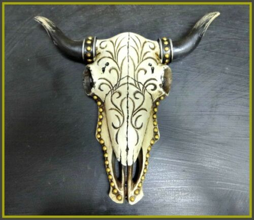 Western Cow Bull Skull Rustic Hanging Wall Sculpture Decoration Tribal Design