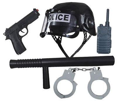 Orl - Zubehör zum Polizei Kostüm Karneval Fasching mit Helm Handschellen