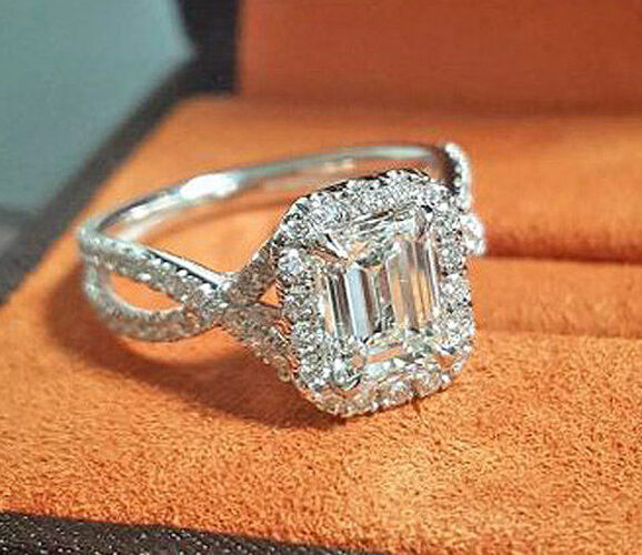 Fine 1.85 Ct Twist Pave Halo Emerald Cut Diamond Engagement Ring F,VS2 GIA 14K