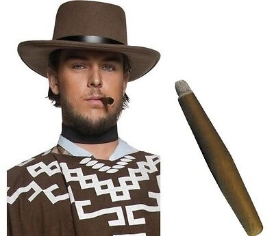 Men's Brown Cowboy Fancy Dress Gunman Hat & Jumbo Cigar Western Stag Theme Fun
