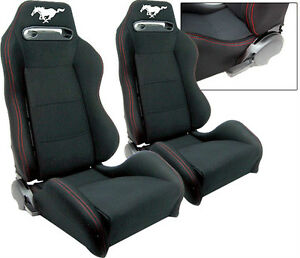 1 PAIR Black Cloth + Red Stitching Racing Seats ALL Ford Mustang 1964-2012