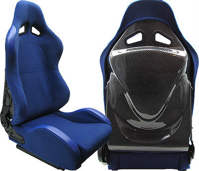 2 BLUE CLOTH+ CARBON LOOK BACK COVER RACING SEATS RECLINABLE FIT FOR NISSAN