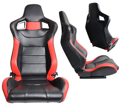 1 PAIR Black & Red PVC Leather Racing Seats RECLINABLE W/ SLIDERS FIT FOR Nissan