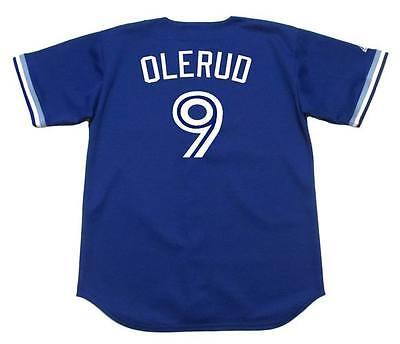 JOHN OLERUD Toronto Blue Jays 1994 Majestic Throwback Baseball Jersey Throwback Blue Majestic Baseball Jersey