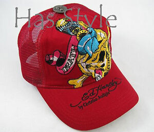 Ed-Hardy-Trucker-Cap-Red-Death-or-Glory-SKULL-Audigier