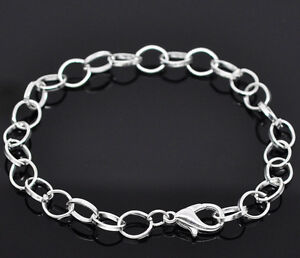 Wholesale Lots Silver Plated Chain Bracelets Fit Clip On Charm 20cm