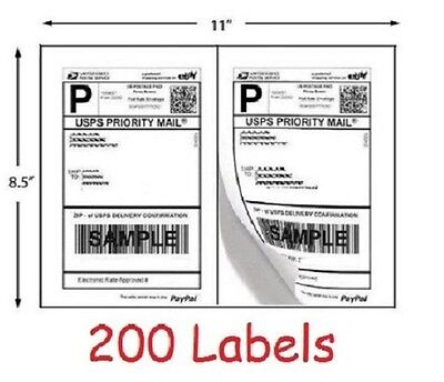 200 Shipping Labels Blank Self Adhesive Printer Paper For Usps Postage 8.5 X 5.5