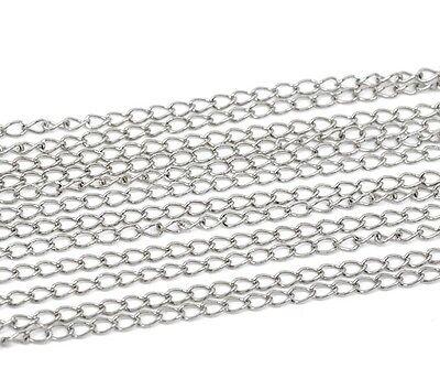 6M Silver Tone Curb Chain - Link Size 5.5 x 3.5mm Jewellery Making J13009