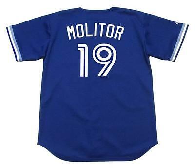 PAUL MOLITOR Toronto Blue Jays 1994 Majestic Throwback Baseball Jersey Throwback Blue Majestic Baseball Jersey