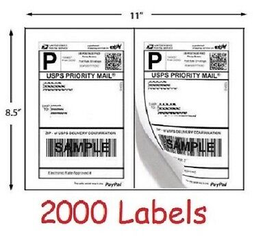 2000 Shipping Labels For Usps Ups Fedex Ebay Click N Ship Postage Half Sheet