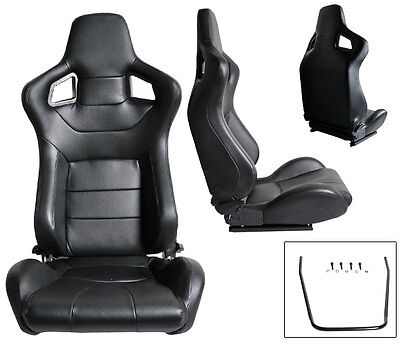 Scion Leather Seats - 2 BLACK PVC LEATHER RACING SEATS RECLINABLE ALL SCION NEW