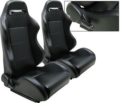 1 PAIR BLACK PVC LEATHER RACING SEATS RECLINABLE w/ SLIDER ALL SCION