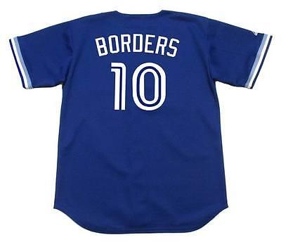 PAT BORDERS Toronto Blue Jays 1994 Majestic Throwback Baseball Jersey Throwback Blue Majestic Baseball Jersey