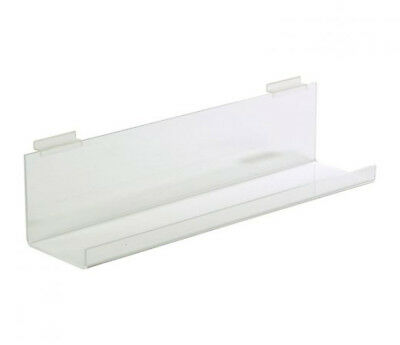 Set Of 4 Long Slatwall Clear Lucite Store Display Shelves With Lip 46 Long