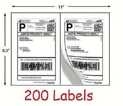 200 Shipping Labels 100 Sheets Blank White Self Adhesive Ebay Usps Postage Print