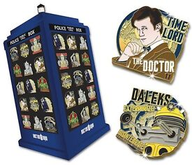 Doctor Who Badge Collection and Tardis Display Case