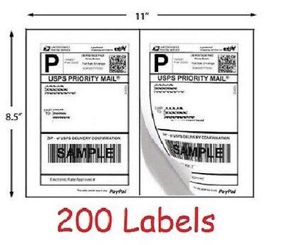 200 Shipping Labels Self Adhesive Half Sheet Print Paper Usps Postage 8.5 X 5.5