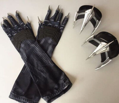 Halloween Avengers Infinity War Black Panther Claw Glove Paws Forearm Props USA