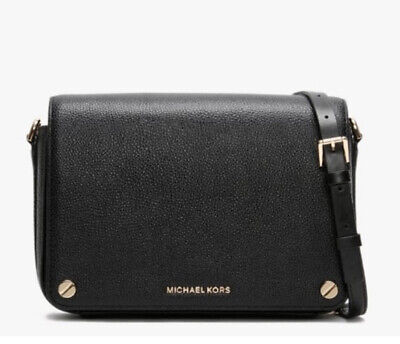 New With Tag Michael Kors Large Full Flap Black Leather Across Body Bag Rrp £210