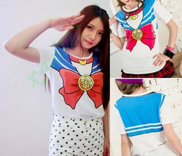 Anime Sailor Moon Bow Crew Neck T-shirt Tops Cute Kawaii Cosplay Costume New