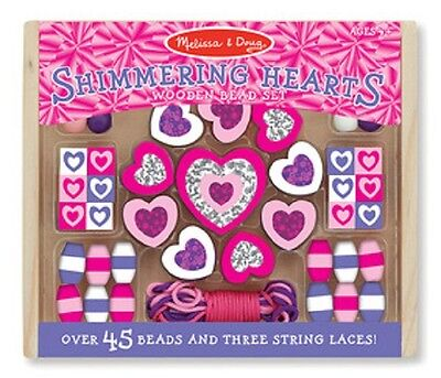 Melissa & Doug Shimmering Hearts Wooden Bead Set #9495 BRAND NEW  (Melissa And Doug Bead Set)