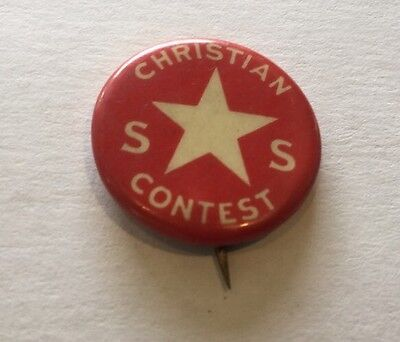 Vintage S.S Sunday School Christian Contest Religious Pin Pinback Button