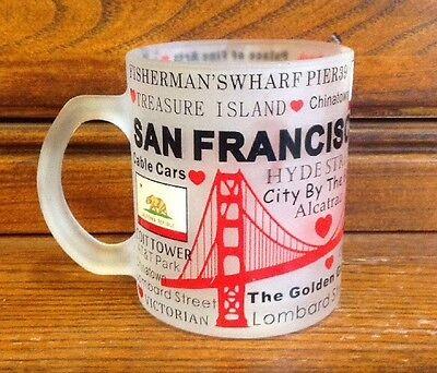 San Francisco Coffee Mug Red Skyline Golden Gate Bridge Frosted Glass 11oz 64002