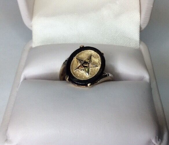 Vtg. Eastern Star Ladies Ring Gold Black Onyx (J294)