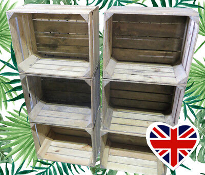 WOODEN FRUIT CRATES - CHOOSE YOUR QTY - Rustic & Vintage  Boxes - FREE Delivery