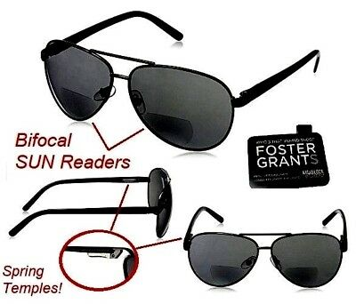 AVIATOR Bifocal FOSTER GRANT +2.00 Reading SunGlasses Black Metal Military -