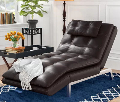 Brown Leather Chaise - Chaise Lounge Chair Brown Recliner Leather Modern Lounger Convertible Sleeper