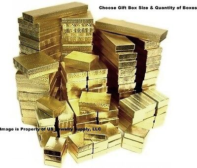 Gold Cotton Filled Gift Box Jewelry Craft Collectibles Packaging Boxes - Gold Gift Box