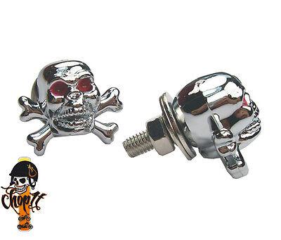Kennzeichenschrauben Totenkopf Skull chrom für Chopper Custombike