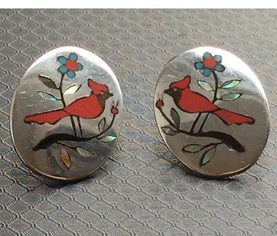 Vintage Zuni Sterling Silver Inlay Earrings Signed by BH