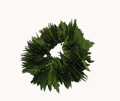 Hawaiian Unisex Double Hand String Green Silk Fern Leaf Haku Head Lei
