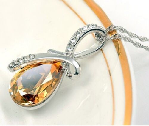 Fashion Women Heart Crystal Rhinestone Silver Chain Pendant Necklace Jewelry