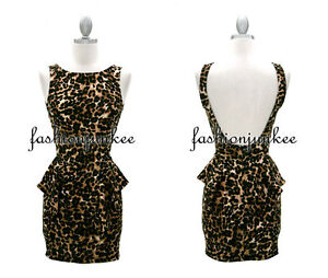 LEOPARD PRINT BACKLESS PEPLUM  Mini Dress Sexy Open BACK Clubwear Animal NEW M