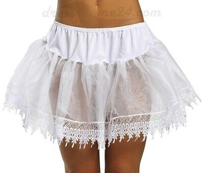 Petticoat weiß weiss Mini Minirock Spitze Rock Unterrock Kostüm 22 cm lang - Spitze Langer Rock Kostüm