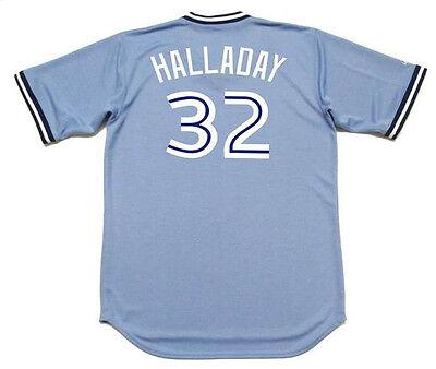 ROY HALLADAY Toronto Blue Jays 2008 Majestic Throwback Baseball Jersey Throwback Blue Majestic Baseball Jersey