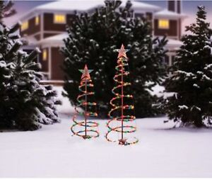 holiday time 3 and 4 lighted spiral christmas tree sculptures wm5 m01