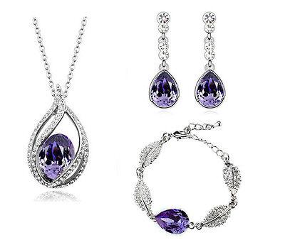 dunkles violett Tropfen glänzend Kostüm Schmuck Armband Halskette Set Ohrringe