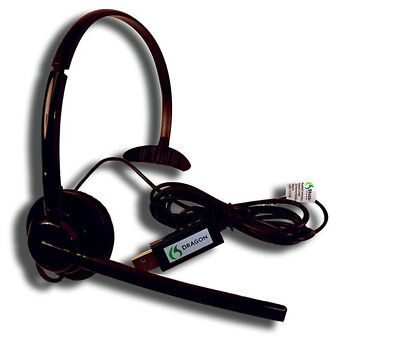 - Nuance Dragon Mono Ear USB Headset With Microphone HS-GEN-24 - New!