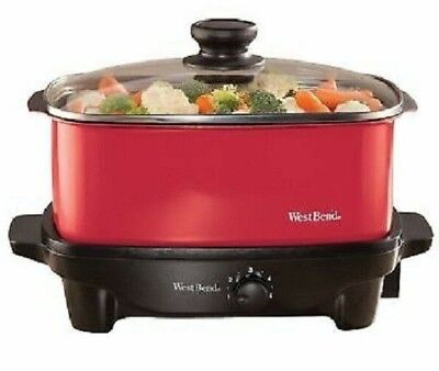 West Bend 84915R Versatility 5 Quart Slow Cooker Red Nonstick NEVER USED!!