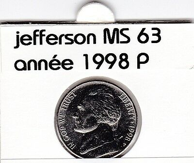 e 3 )pieces de 5 cent jefferson  1998  P  voir description