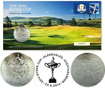 2014 Ryder Cup Medal Cover Golf Stamp Royal Mint Limited Edition Collectors Rare