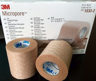 2 Roll Paper Tape - 3M Micropore TAN Paper Medical Tape 2