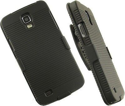 New Black Hard Case + Belt Clip Holster W/Stand For Samsung Galaxy S4 SIV i9500  on Rummage